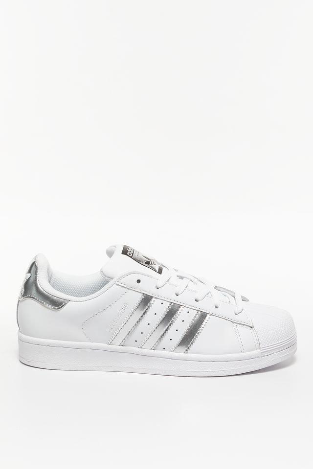 נעלי סניקרס אדידס לנשים Adidas SUPERSTAR J - לבן/כסף