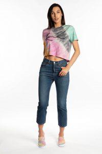 חולצת T קארל קני לנשים KARL KANI SIGNATURE BASIC - צבעוני