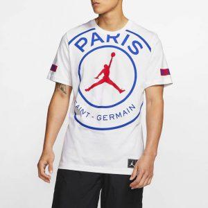 ביגוד נייק לגברים Nike PARIS SAINT-GERMAIN x JORDAN SS LOGO TEE - לבן