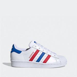 נעלי סניקרס אדידס לנשים Adidas Originals Superstar 2.0 J - לבן  כחול  אדום
