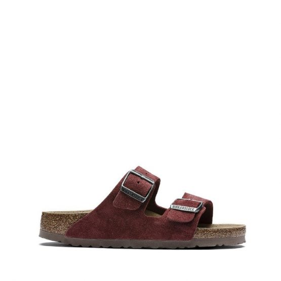 כפכפי בירקנשטוק לנשים Birkenstock Arizona - זמש בורדו