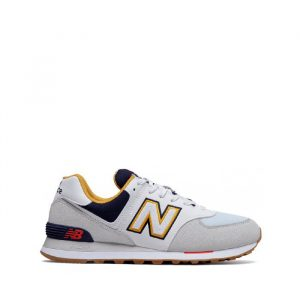 נעלי סניקרס ניו באלאנס לגברים New Balance ML574 - לבן/צהוב