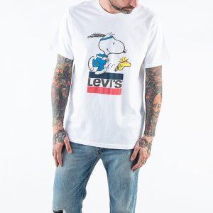 ביגוד ליוויס לגברים Levi's x Peanuts Torch Snoopy Logo - לבן