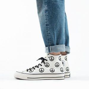 נעלי סניקרס קונברס לגברים Converse Chuck 70 High Top Peace - לבן/שחור