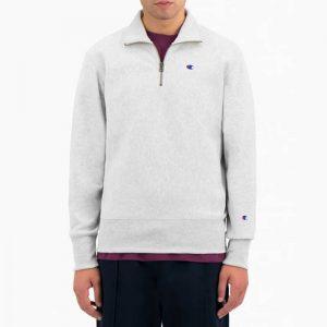 ביגוד צ'מפיון לגברים Champion Half Zip Sweatshirt - לבן
