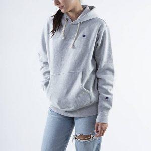 ביגוד צ'מפיון לנשים Champion Hooded Sweatshirt - אפור בהיר