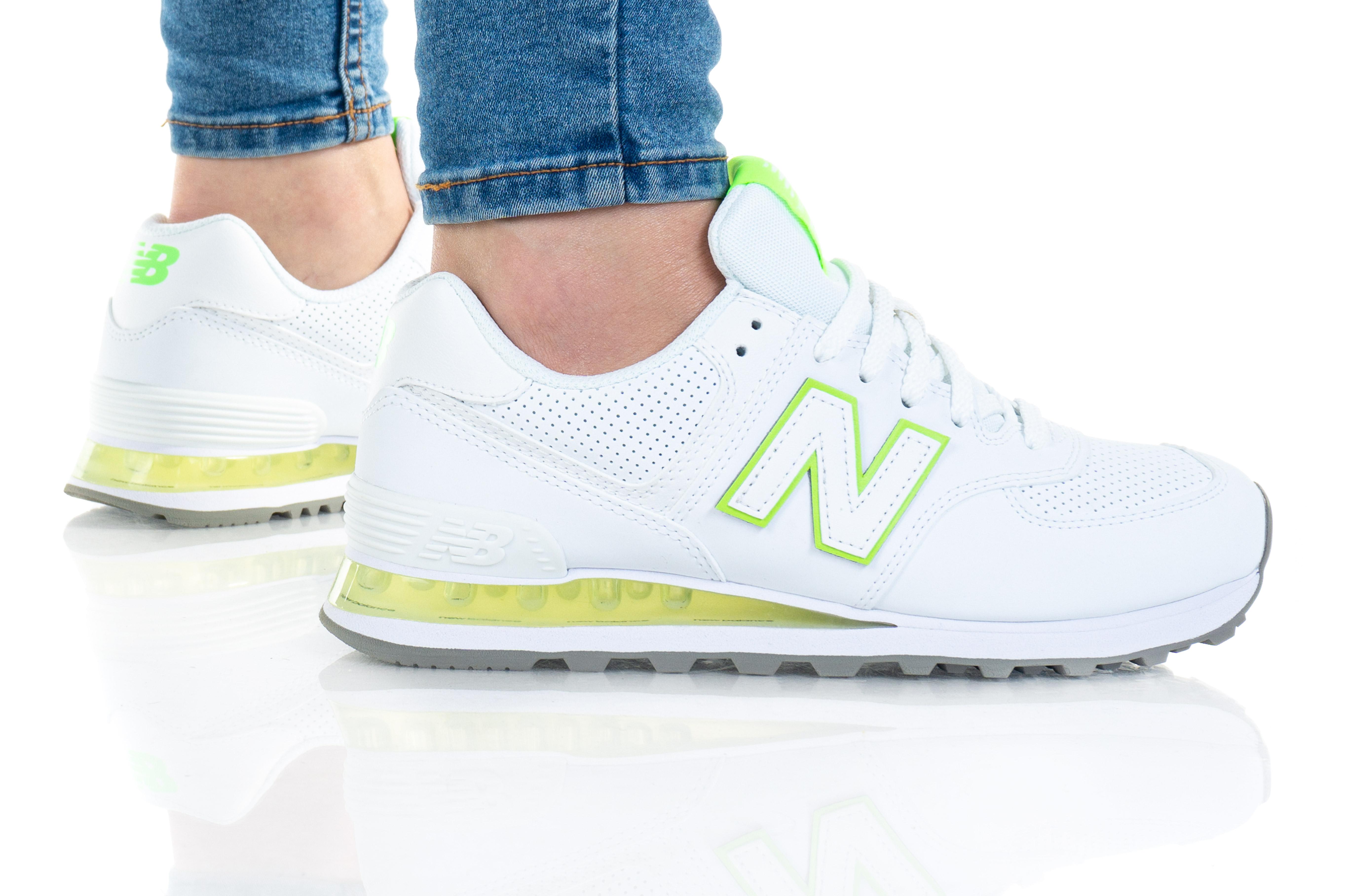 נעלי סניקרס ניו באלאנס לנשים New Balance WL574 - לבן/צהוב