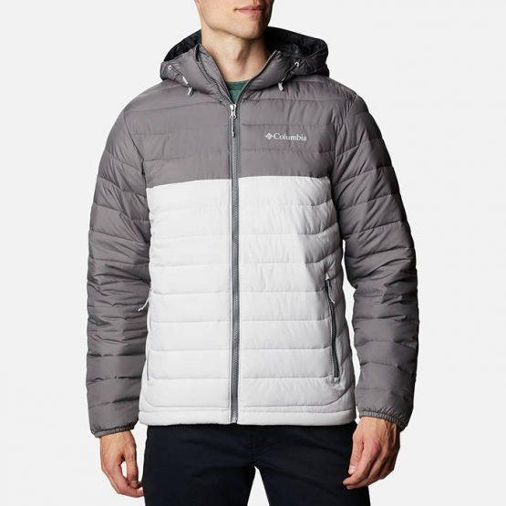 ג'קט ומעיל קולומביה לגברים Columbia Powder Lite Hooded - לבן/אפור