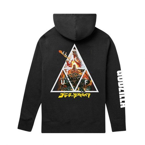סווטשירט HUF לגברים HUF x Godzilla Triple Triangle Pullover - שחור