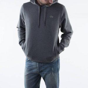 ביגוד לקוסט לגברים LACOSTE Sport Hooded Fleece - אפור כהה