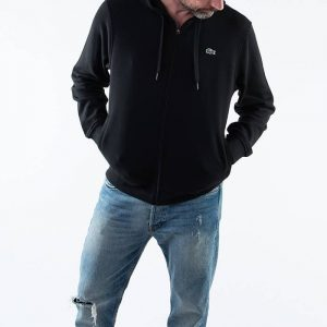 סווטשירט לקוסט לגברים LACOSTE Sport Hooded - שחור