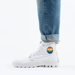 נעליים פלדיום לגברים Palladium x Smiley Pampa Pride - לבן