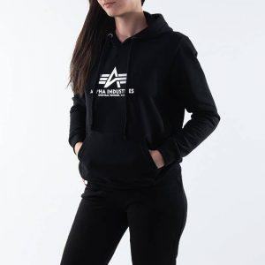 סווטשירט אלפא אינדסטריז לנשים Alpha Industries New Basic Hoody - שחור