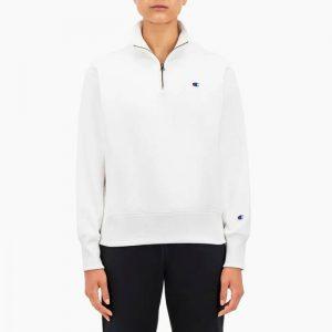ביגוד צ'מפיון לנשים Champion Half Zip Sweatshirt - לבן