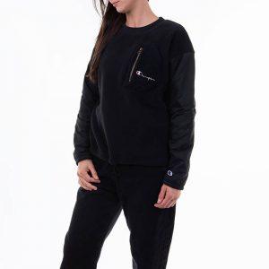 ביגוד צ'מפיון לנשים Champion Reverse Weave Crewneck Sweatsuit - שחור