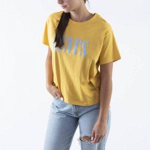 ביגוד ליוויס לנשים Levi's Graphic Varsity Tee - צהוב