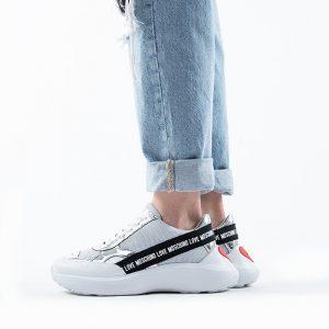 נעליים מוסקינו לנשים MOSCHINO Running60 - לבן/אפור