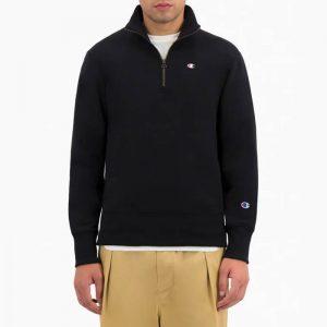 ביגוד צ'מפיון לגברים Champion Half Zip Sweatshirt - שחור מלא