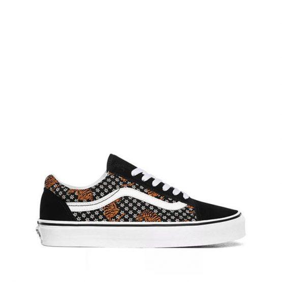 נעלי סניקרס ואנס לנשים Vans Old Skool - שחור הדפס