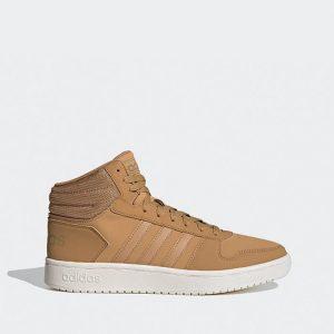 נעלי סניקרס אדידס לגברים Adidas Hoops 2.0 Mid - חום