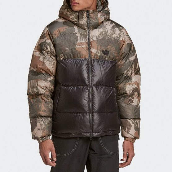 ג'קט ומעיל אדידס לגברים Adidas Originals Down Regen Camo - צבעוני כהה