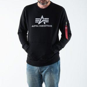 סווטשירט אלפא אינדסטריז לגברים Alpha Industries 3D Logo - שחור