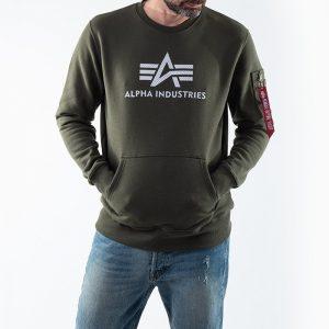 סווטשירט אלפא אינדסטריז לגברים Alpha Industries 3D Logo - ירוק