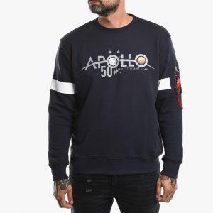 סווטשירט אלפא אינדסטריז לגברים Alpha Industries Apollo 50 Reflective - כחול כהה