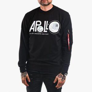 סווטשירט אלפא אינדסטריז לגברים Alpha Industries Apollo Moon Landing 50 - שחור