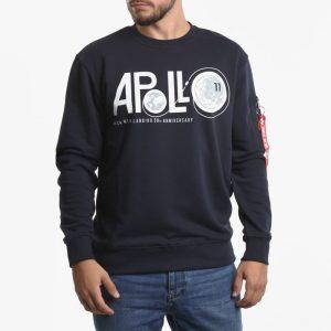 סווטשירט אלפא אינדסטריז לגברים Alpha Industries Apollo Moon Landing 50 - כחול כהה