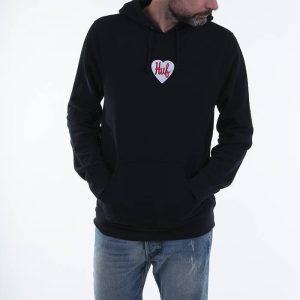 סווטשירט HUF לגברים HUF Plastic Heart P/O - שחור