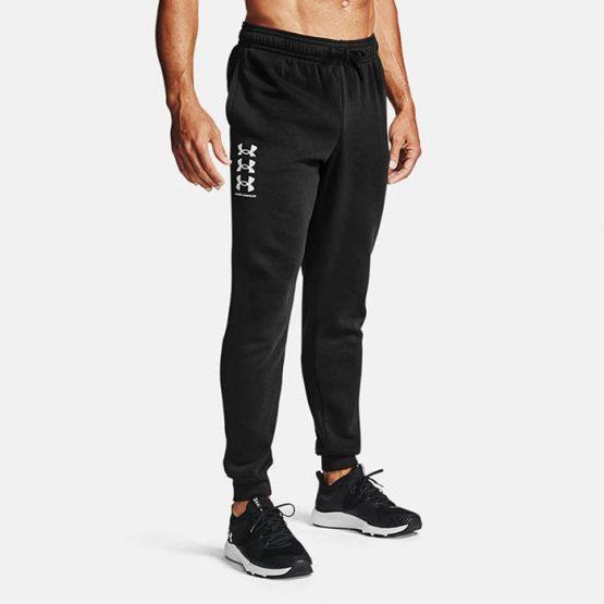 מכנסיים ארוכים אנדר ארמור לגברים Under Armour Rival Fleece 3Logo - שחור