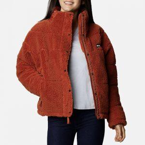 ג'קט ומעיל קולומביה לנשים Columbia Lodhe Baffled Sherpa Fleece - חום
