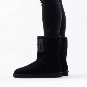 נעליים האג לנשים UGG Classic Short Rubber Logo - שחור