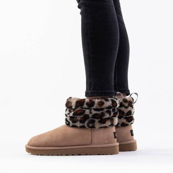 נעליים האג לנשים UGG Fluff Mini Quilted Leopard - מנומר