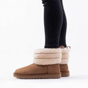 מגפי האג לנשים UGG Fluff Mini Quilted - חום