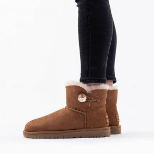 נעליים האג לנשים UGG Mini Bailey Button Bling - חום
