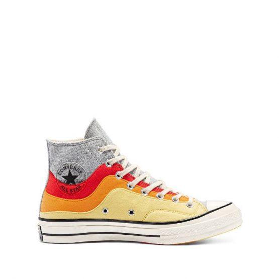 נעלי סניקרס קונברס לגברים Converse Thermo Felt Chuck 70 High Top Weather Patterns - צהוב בהיר
