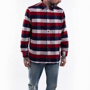 חולצה מכופתרת Edwin לגברים Edwin Big Shirt Longsleeve - אדום