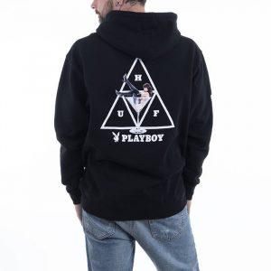 סווטשירט HUF לגברים HUF x Playboy Bunny Triple Triangle Pullover - שחור