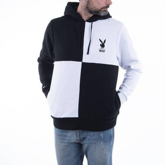 סווטשירט HUF לגברים HUF x Playboy Color Block Pullover - שחור/לבן
