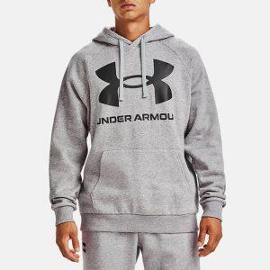 סווטשירט אנדר ארמור לגברים Under Armour Rival Fleece Big Logo Hd - אפור