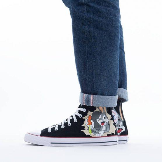 נעלי סניקרס קונברס לגברים Converse x Looney Tunes Chuck Taylor All Star Hi Bugs Bunny - שחור