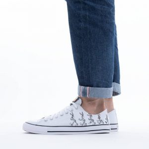 נעלי סניקרס קונברס לגברים Converse x Looney Tunes Chuck Taylor All Star OX Bugs Bunny - לבן/אפור