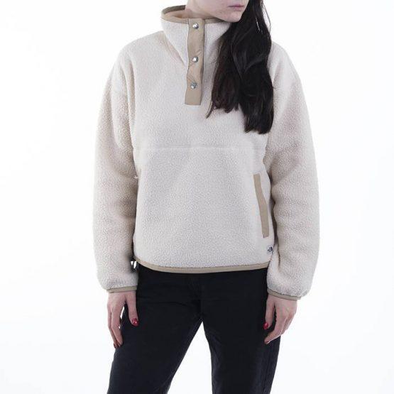סווטשירט דה נורת פיס לנשים The North Face Fleece Mashup 1/4 Snap - לבן