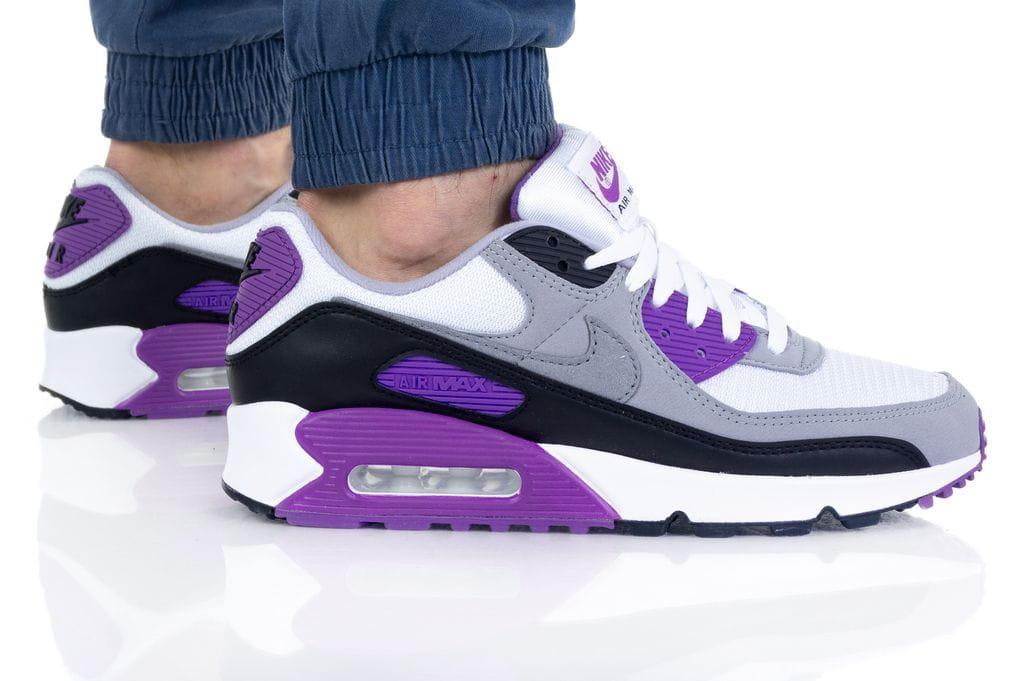 נעלי סניקרס נייק לגברים Nike Air Max 90 Essential - לבן/סגול