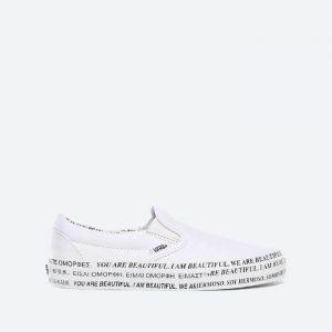 נעלי סניקרס ואנס לנשים Vans x We Are Beautiful Classic Slip-On - לבן