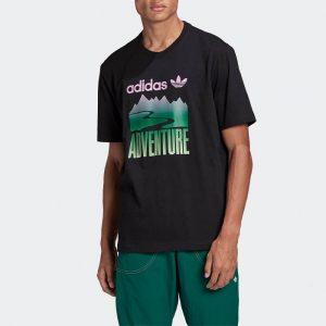 חולצת T אדידס לגברים Adidas Originals Adventure Mountain Tee - שחור