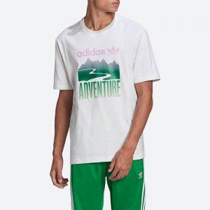 חולצת T אדידס לגברים Adidas Originals Adventure Mountain Tee - לבן