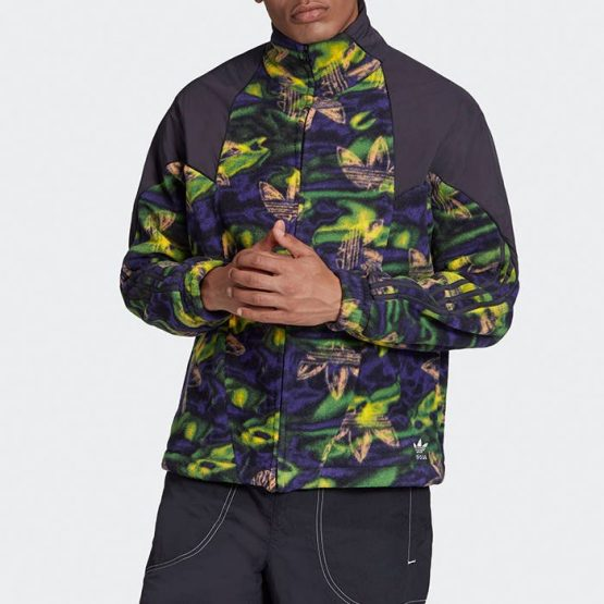 ג'קט ומעיל אדידס לגברים Adidas Originals Big Trefoil Print - ירוק